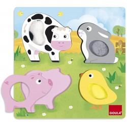 Puzzle Les animaux de la ferme en tissus (4 pièces) Goula