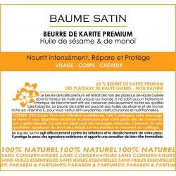 Baume satin - Beurre de karité premium à l'huile de sésame et de monoï